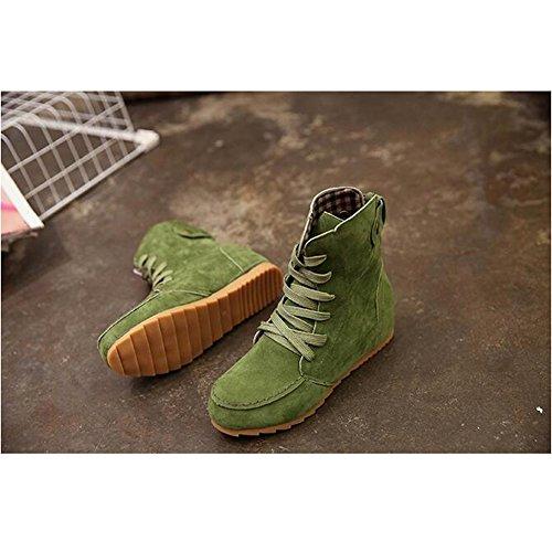 Angelliu Donna Casual Lace Up Sport Martin Cavaliere Stivali Sneakers Verde