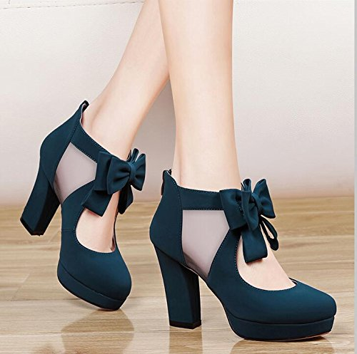 Shoes Bow Yarn Exposed Shoes Spring KHSKX Trendy Female High The Net Women'S Green Shoes The Single Breathable 34 With 9Cm Heel High Tie xwqH6Ppfw
