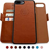 Dreem Fibonacci Wallet Case for iPhone 7-Plus & 8-Plus, Magnetic Detachable Slim-Case, Luxury Vegan Leather, RFID Protection, Smart 2-Way Stand, Gift Box - Caramel