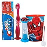 Marvel Spider-Man Inspired Boys 4pc Bright Smile Oral Hygiene Set! Flashing Lights Toothbrush, Toothpaste, Brushing Timer & Mouthwash Rise Cup! Plus Bonus ''Remember to Brush'' Visual Aid!