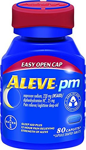 Aleve PM with Easy Open Arthritis Cap, Caplets with Naproxen Sodium, 220mg (NSAID) Pain Reliever/Fever Reducer/Sleep Aid, 80 Count - Pack of 4