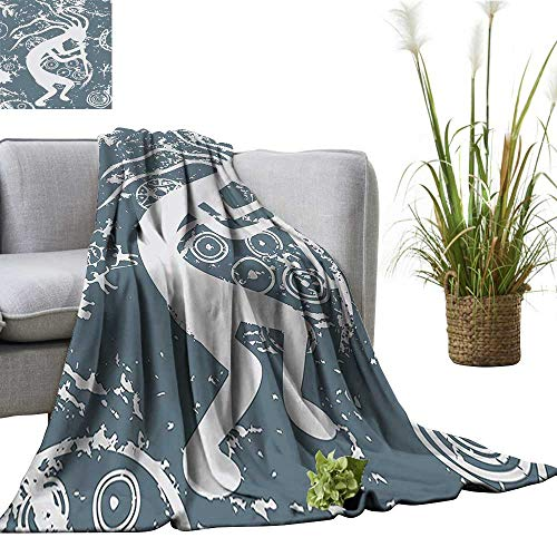 YOYI Baby Blanket Kokopelli Themed Grunge Tribal y Native American Cultur Gray Indoor/Outdoor, Comfortable for All Seasons 35