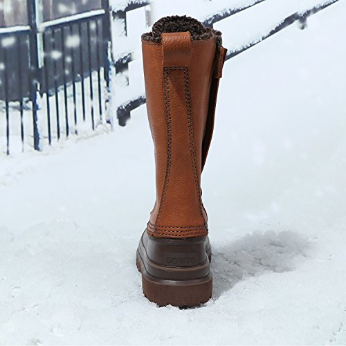 Dowto Waterdicht Midden Hoog Plat Casual Veter Leren Winter Snowboots Voor Dames Kameel
