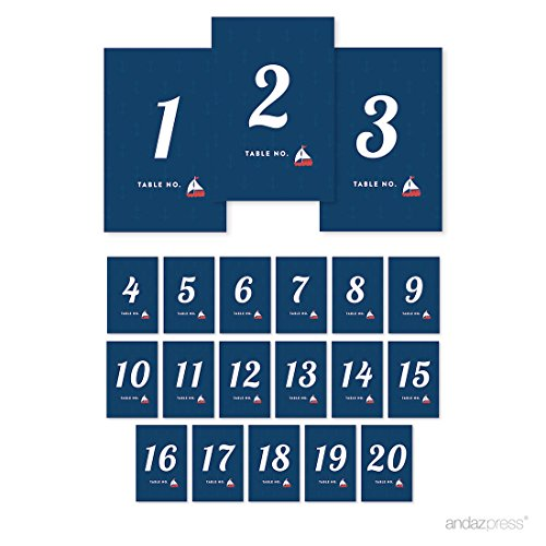 (Andaz Press Nautical Ocean Adventure Wedding Collection, Table Numbers 1-20 on Perforated Paper, Single-Sided, 4 x 6-inch, 1)