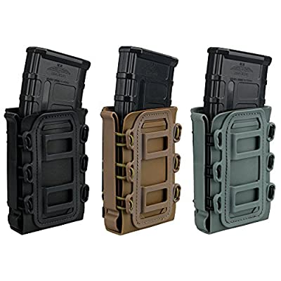 IDOGEAR 5.56mm 7.62mm Tactical Magazine Pouch Airsoft Hunting Shooting Molle Fastmag Soft Shell Mag Carrier Bag