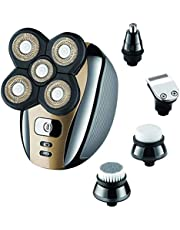 Electric Mens Razor- Geecol Head Shavers Cordless USB Rechargeable 4d Electric Razor 5 in 1 Nose Beard Trimmer Hair Clipper Shaving Kit Rotary Shaver Facial Grooming Kit for Men