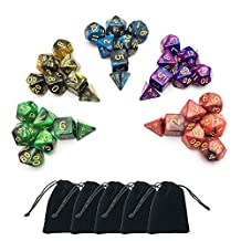 Emango 35 Polyhedral Dice, 5 x 7-Die Series Two Colors Dungeons and Dragons DND RPG MTG Table Games Dice with FREE Pouches