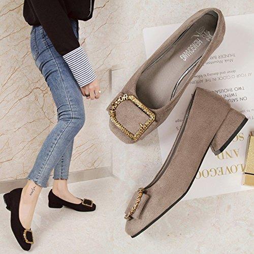 de Brown de Silvestre de Zapatos Xue Satén Zapatos Baja Grueso Cabeza y de con Qiqi con Mujer luz Tacón Cuadrada Solo Femeninos Zapatos Medio aaEf1Cgwzq