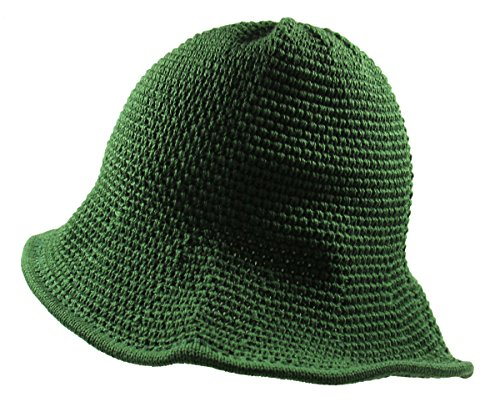 RW Knitted Crochet Fordable Hat With Flexible Wire Big Brim (Green)