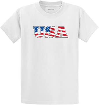 USA LOGO T-SHIRT 4th of July White T-Shirt