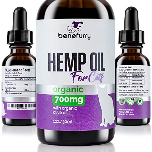 Hemp Oil For Pets By Benefurry | 700mg | Ultimate Pet Health Formula | Pet Anxiety, Hip & Joint Care, Overall Pet Health | USA Grown Hemp (For Cats)