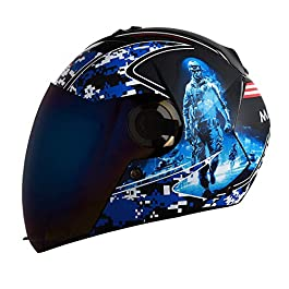 Steelbird SBA-2 7Wings Marine ABS Material Shell Full Face Graphic Helmet Fitted with Clear Visor and Extra Blue Visor…