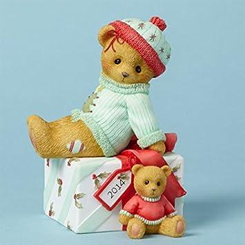 Cherished Teddies Collection Bear Sitting On Present Figurine