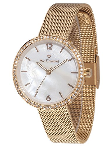 Yves Camani Ophelia Women's Quartz Watch Gold Plated Stainless Steel Milanaise Strap YC1085-C