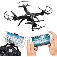 Ikevan 2.4G 4CH 6-Axis FPV RC Drone Quadcopter Wifi Camera Real Time Video 2 Control Modes (Black)