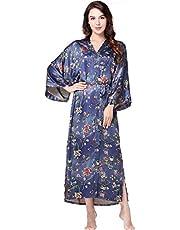 """BABEYOND Floral Kimono Robe Satin Silk Wedding Robe 1920s Kimono Nightgown Sleepwear 53"""" Long"""
