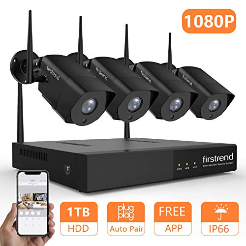 firstrend Security Camera System Wireless, 1080P Wireless NVR System with 4pcs 1080P Security Camera and 1TB Hard Drive Pre-Installed, P2P Home Security Camera System with Free APP [Black] For Sale
