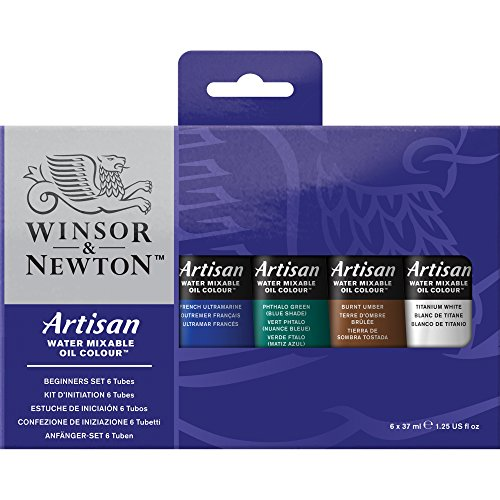 Winsor & Newton Artisan Water Mixable Oil Color 6-Tube Beginner Set, 37ml (Oil Colors Cadmium Yellow Pale)