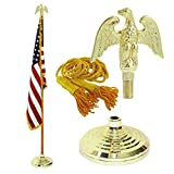 Indoor American Cotton Flag, Flagpole, Base & Tassel (Metal Eagle, 8 Ft Oak Pole)