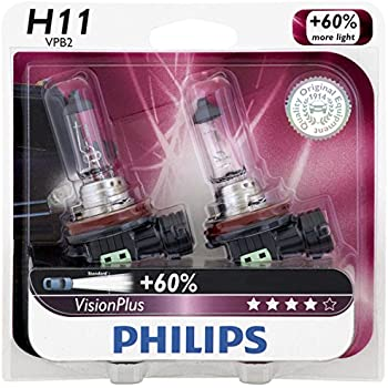 Philips H11 VisionPlus Upgrade Headlight Bulb, 2 Pack