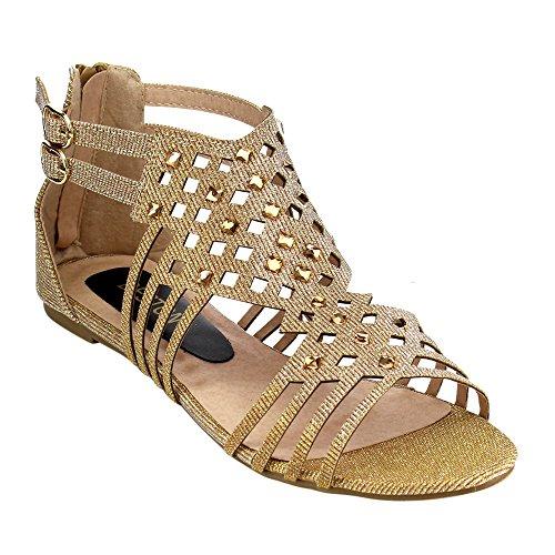 BESTON GB38 Womens Double Buckles Gladiator Flat Sandals Champagne RqvEOXV