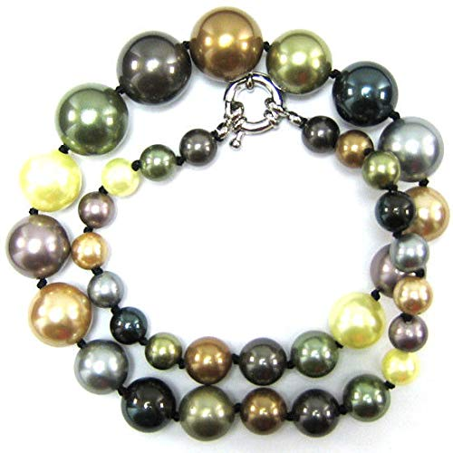 8-16mm Multicolor Shell Pearl Round beads Necklace 18''