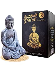 Lord Buddha Statue Mini — 6.7 inch Durable Resin Buddha Decor Statue with Wooden Round Base — Mini Buddha Statue For Home Decoration