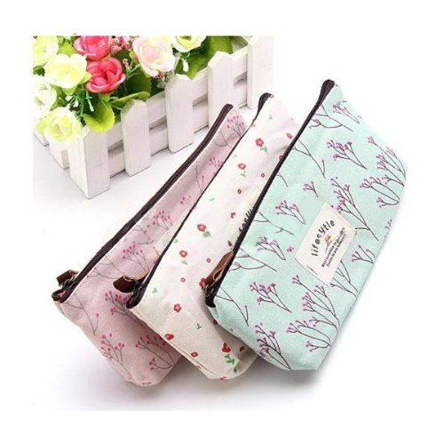 Canvas Flower Floral Pencil Pen Case Cosmetic Makeup Bag Storage Purse Blue