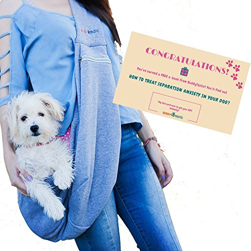 Pet Sling Carrier Dog Bag | Adjustable Strap and Pocket | Reversible and Hands-Free | Soft Comfortable Front Puppy Sling | Pets up to 13 lbs | by BuddyTastic