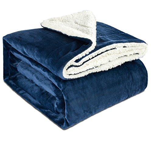 MAICICO Sherpa Fleece Blanket Twin Size Navy Blue Plush Throw Blanket Fuzzy Soft Blanket Microfiber - Wrinkle-Resistant Classic Plush Twin Blankets