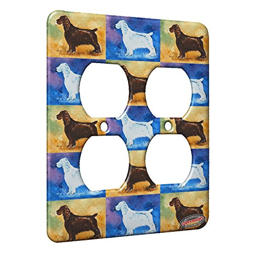 - 2 Gang AC Outlet Wall Plate - Liver Field Spaniel Dog Pattern Art by Denise Every
