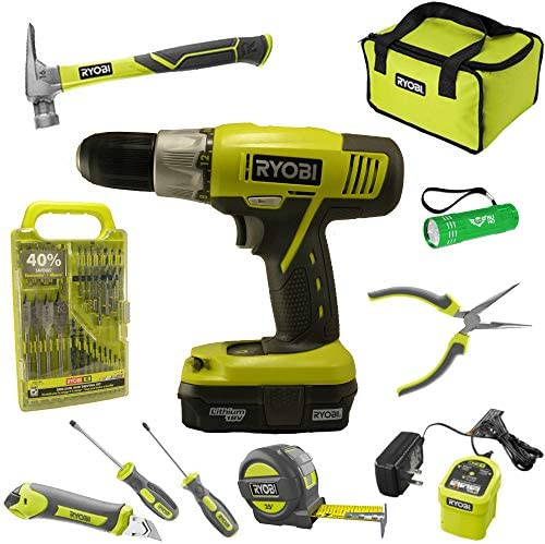 Ryobi Household Tool Set Bundle with Ryobi 18V ONE Drill, Drill Bits, Household Tools and Buho Pocket Flashlight