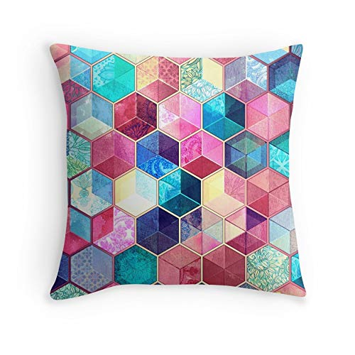 Topaz & Ruby Crystal Honeycomb Cubes for Sofa Couch Living Room Bed Decorative (Square 18x18)