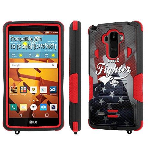 LG [G Stylo] Tough Case [SlickCandy] [Black/Red] Hybrid Combat [Kick Stand] [Shock Proof] Phone Case - [Fire Fighter Flag] for LG [G Stylo] [LS770 H631] -  SlickCandy for LG [G Stylo], P-LGLS770-1E1-BKRD-VRI-P004C