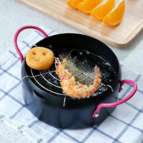 Denshine Deep Fryer Deep Frying Pan with Oil Dripper Nonstick Frying Pot Deep Japanese Fried Tempura Pot Stainless Steel Cookware, 8.6 Inch (22 cm) by Denshine