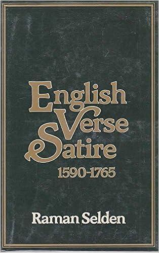English Verse Satire 1590 1765 Raman Selden 9780048270160