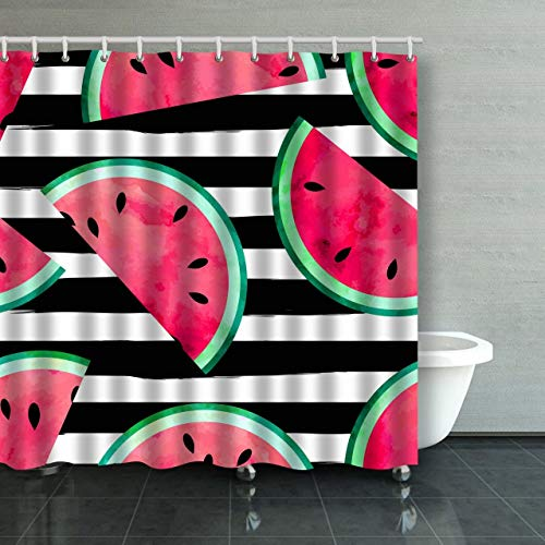 PAUSEBOLL Fruity with Watercolor Paint Textured Watermelon Pieces Striped Shower Curtain Bathroom with Hooks, Waterproof Home Decor Curtain