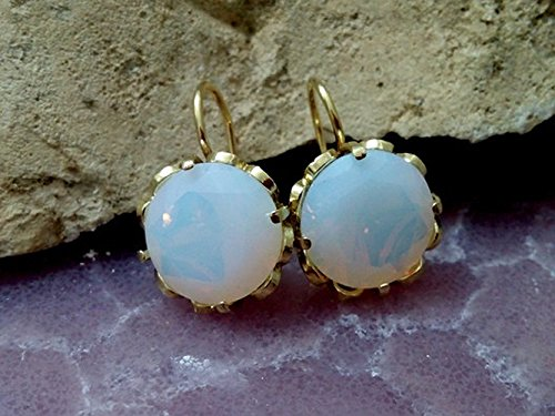 Filigree Basket (White opal earrings, wedding earrings,bridal earrings,Filigree basket earrings, round earrings, Gold earrings,Statement large earrings)