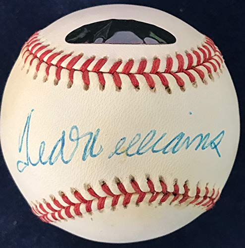 Ted Williams Signed Official American League Baseball (Green - Ted Williams Figurine