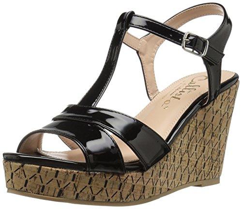 Callisto Mujeres Teluride Wedge Sandal Black Patent
