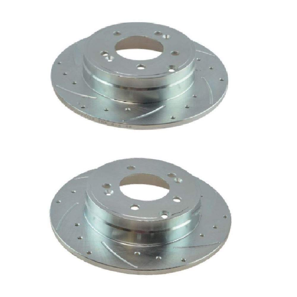 Prime Choice Auto Parts PR41588DSZPR Pair of Rear Performance Drilled and Slotted Silver Rotor