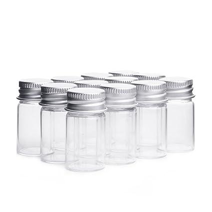 lansue 10pcs/7ml Muestra de Botellas de Cristal vacías tarros Viales Case Contenedor con Tapones