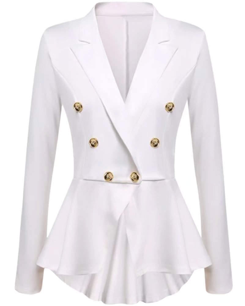 NAWONGSKY Women's Long Sleeve Ruffle Peplum One Button Crop Frill Blazer Jacket, White, Tag 2XL = US (10-12)