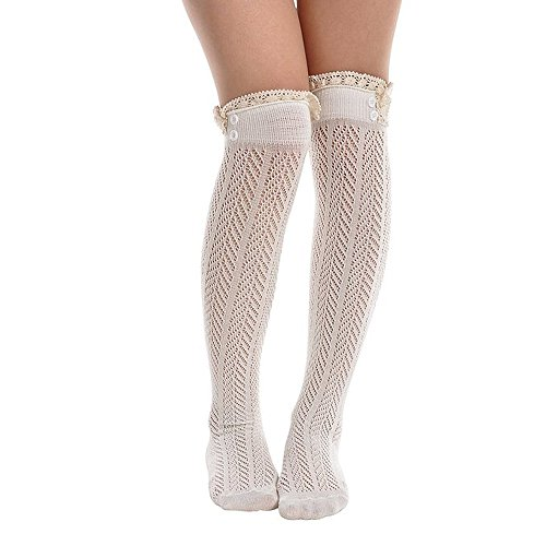 Song Women's Leg Warmers Lace Trim Boot Socks Button Knit Knee High ()