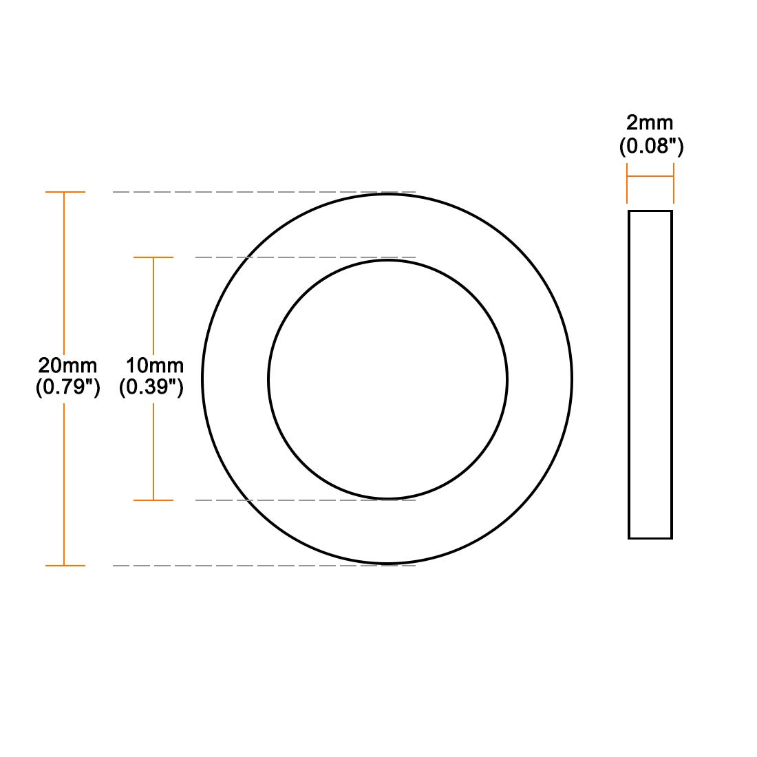 sourcing map Arandelas Planas De Nylon Para Tornillo M4 De 10mm De Di/ámetro Exterior 1mm De Grosor 50Pcs