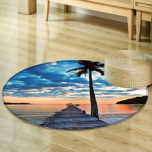 for Bedroom Palm Trees Tropical Island Ocean Wooden Bridge Dock Art Pictures Palms Sunset Sky ations Fabric Room Dividers Blue Coral Gray Black Circle Rugs for Living Room R-24 ()