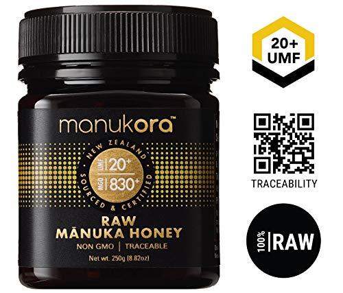 Manukora UMF 20+/MGO 830+ Raw Mānuka Honey (250g/8.8oz) Authentic Non-GMO New Zealand Honey, UMF & MGO Certified, Traceable from Hive to Hand (Best Cold Sore Cream Australia)
