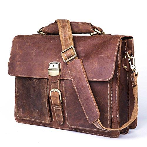 Baigio Crazy-Horse Leather Briefcase Lock Key Designer Inspired Messenger Bag Handbag Fit 15