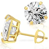14K Yellow Gold Round Cut AAA Cubic Zirconia Heavy Basket Set Earrings