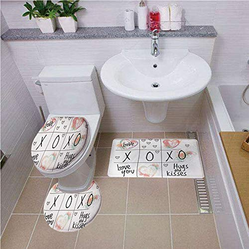 Bath mat set Round-Shaped Toilet Mat Area Rug Toilet Lid Covers 3PCS,Xo Decor,Lovers Heart with Kisses Sign Abstract Calligraphy Artistic Romance Couple Graphic,Pink Black ,Elongated Toilet Lid Cover
